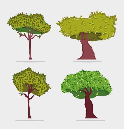 Set van bomen pictogrammen