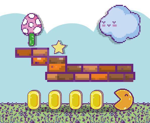 Paisajes de videojuegos pixelados.