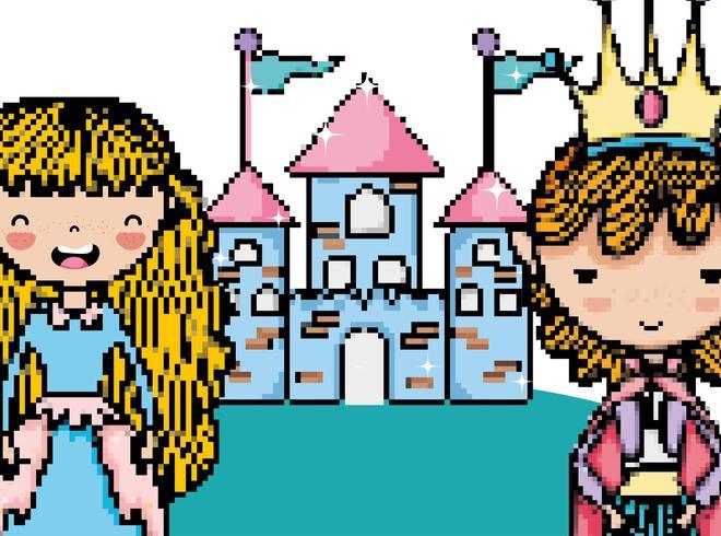 Pixelated videogamefantasie-landschap
