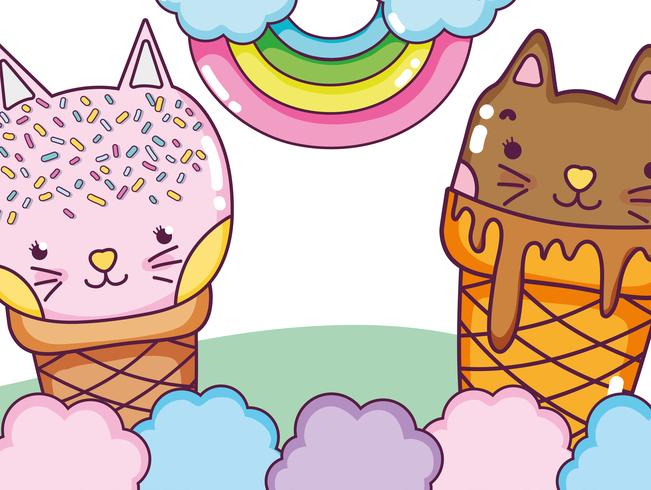 Cats and ice cream vector