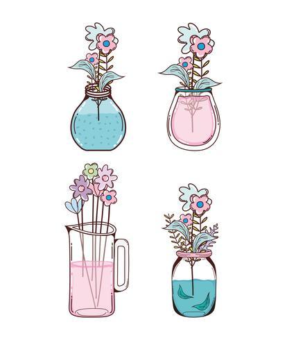 Set van bloemen cartoons