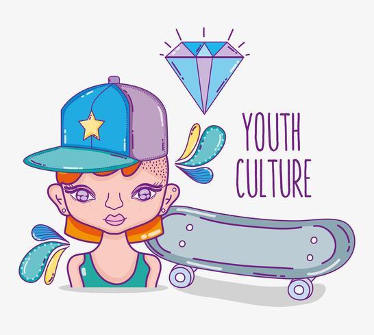 Fumetto della donna millenial della cultura della gioventù vettore