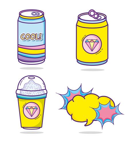 Conjunto de desenhos de pop art