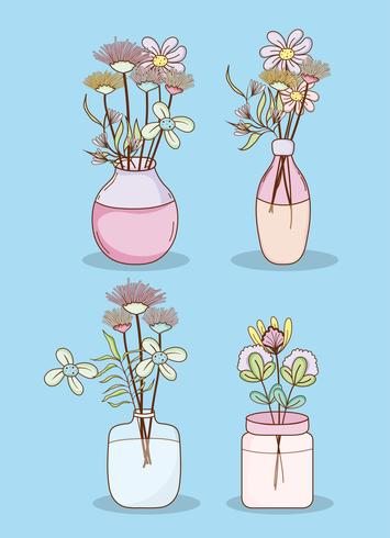 Set di fiori in vasi di muratore