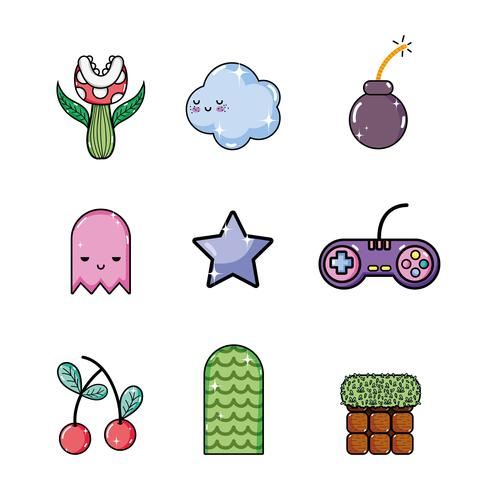 Conjunto de elementos de videojuegos retro.