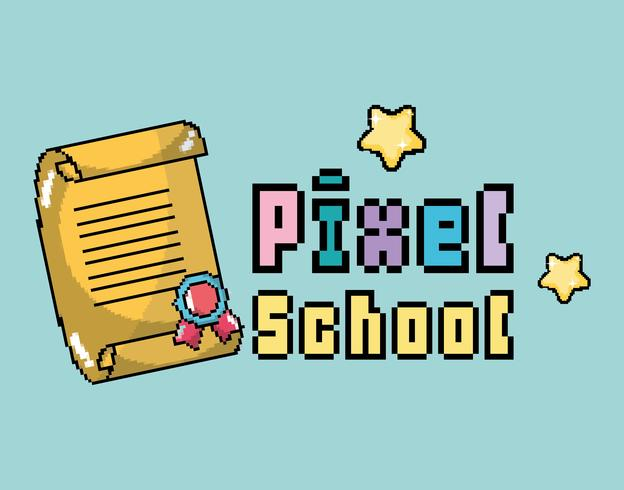 Pixel Schule Kunst vektor
