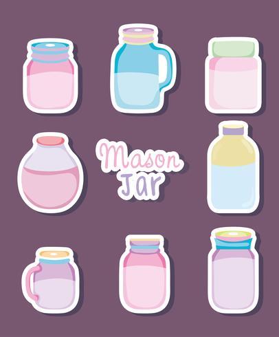 Set of mason jar drawings
