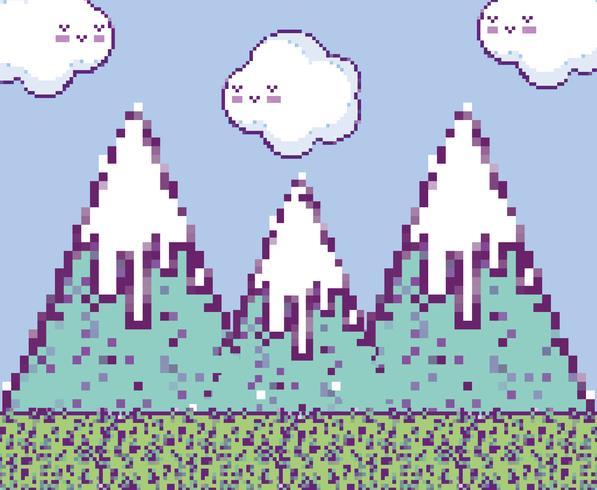 Cenário de videogame pixelizado