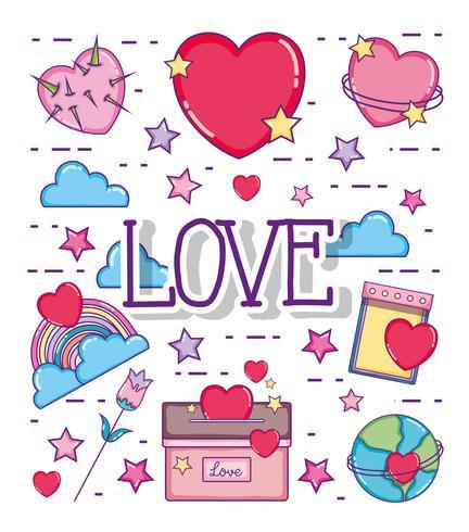 Liefde en harten cartoons vector