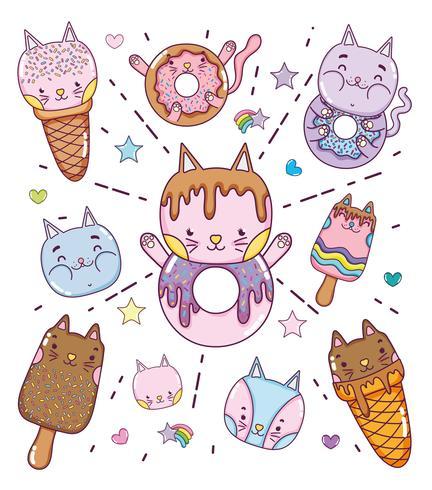 Lindos postres y helados de dibujos animados. vector