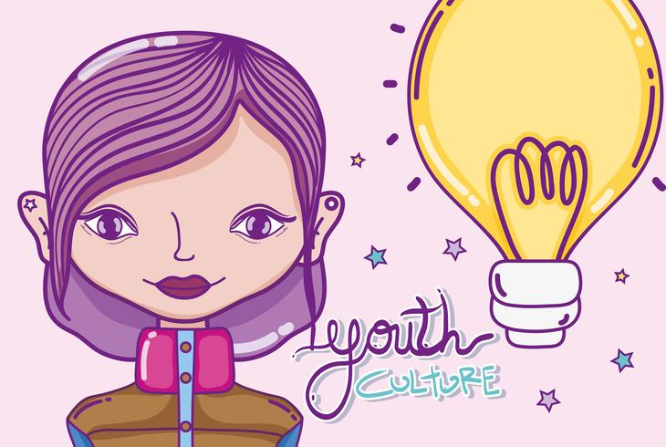 Fumetto della donna millenial della cultura della gioventù