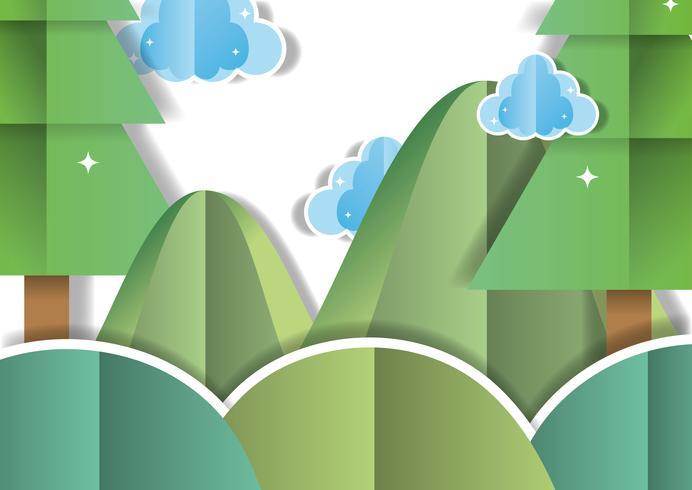 Dibujos animados paisaje de papel vector