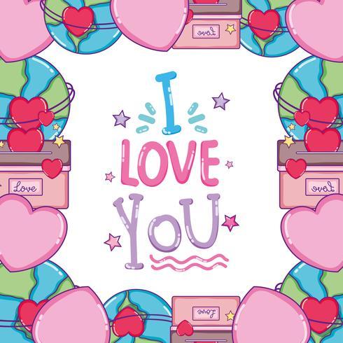 Jag älskar dig kort vektor