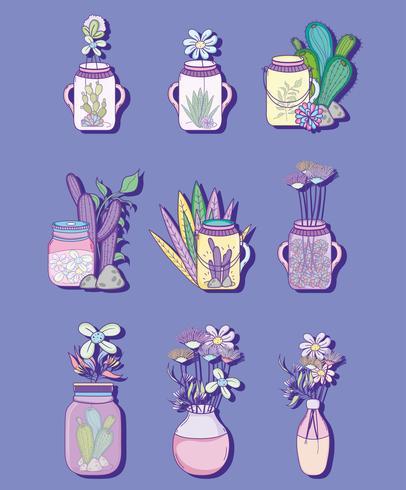 Set de tarro de albañil con dibujos de flores. vector