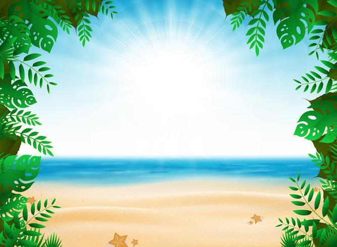Férias de verão abstrata com decoração de natureza no fundo da praia ensolarada. ilustração vetorial eps10