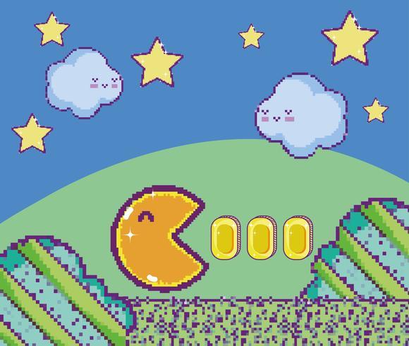 Scène de jeu vidéo pixélisée