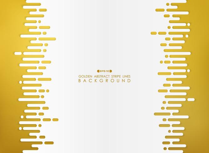 Abstraction dorée de la ligne à rayures avec un fond d'espace blanc.