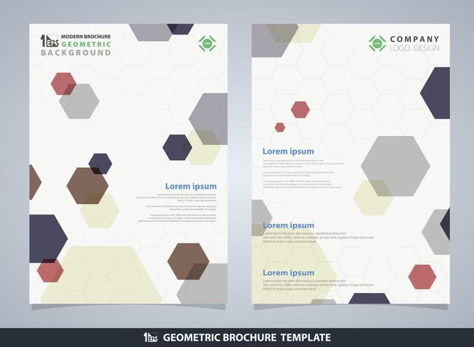 Plantilla geométrica del diseño del folleto del modelo del pentágono colorido abstracto. vector