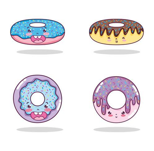Conjunto de dibujos animados kawaii vector