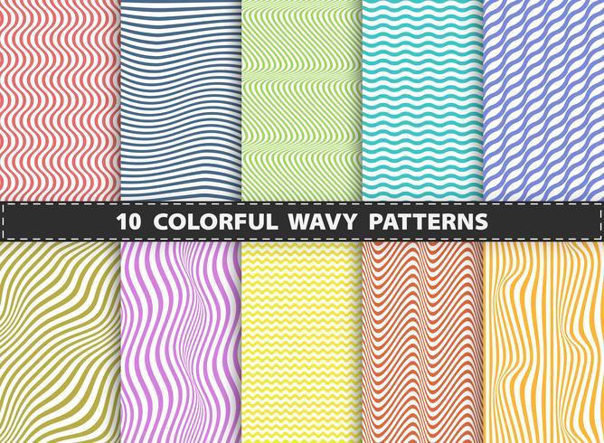 Abstrakt modern färgstark stipe linje med vågigt uppsättning mönster designsamling. Dekorerar för bok, annons, tryck, tidskrift, årsredovisning.