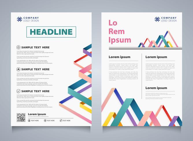 Abstracte kleurrijke streep overlapping brochure bedrijfs sjabloon. U kunt gebruiken voor modern ontwerp van zakelijke brochure, boek, verslag, dekking, jaarlijks. vector