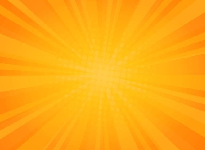 Abstract sunny radiance pattern of comic halftone background in yellow.