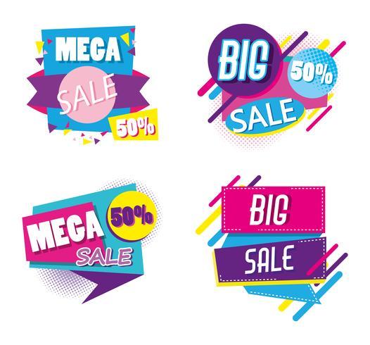 Conjunto de mega venda emblemas estilo memphis