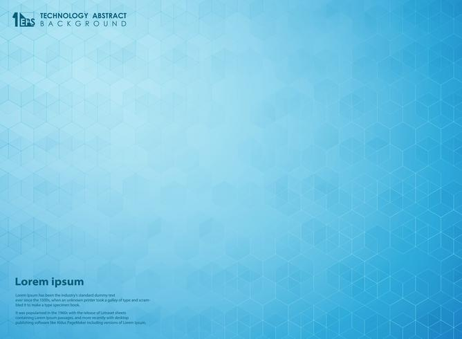 Abstract gradient blue of science pentagon technology futuristic pattern background.