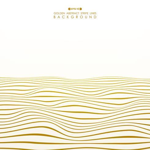 Abstract golden stripe line wavy ocean pattern background.