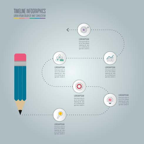 Education infographics template 5 step option. Timeline infographic design vector.