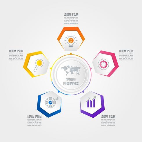 concept d'entreprise de conception infographique avec 5 options.