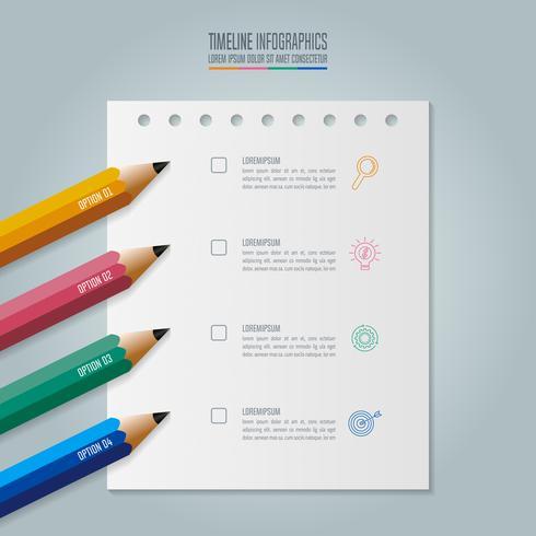 Plantilla de infografías de educación opción de 4 pasos. Vector de diseño infográfico línea de tiempo.
