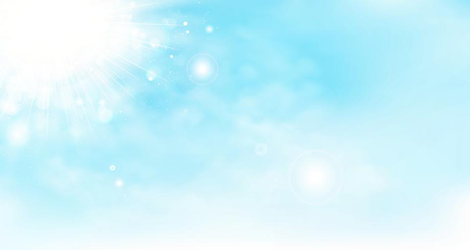 Fundo abstrato do céu do verão do vetor com nuvens e sol. ilustração vetorial eps10