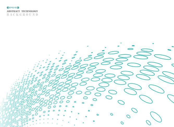 Abstrakt geometrisk cirkel halvton av blå teknik ansluta. vektor