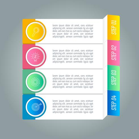 Diseño infográfico concepto de negocio con 4 opciones. vector