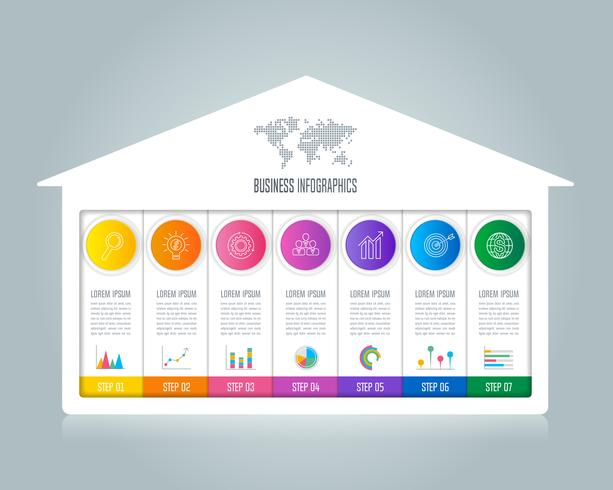 infographic design business concept with 7 options.