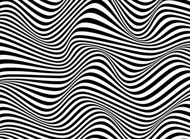 Abstract background of black and white stripe line pattern wavy design.