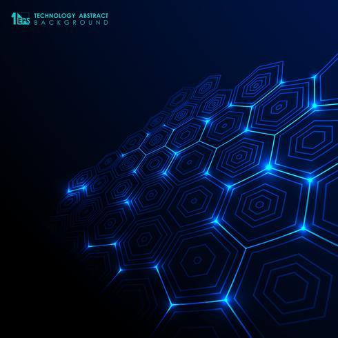 Fondo azul del modelo del hexágono de la pendiente futurista abstracta de la tecnología.