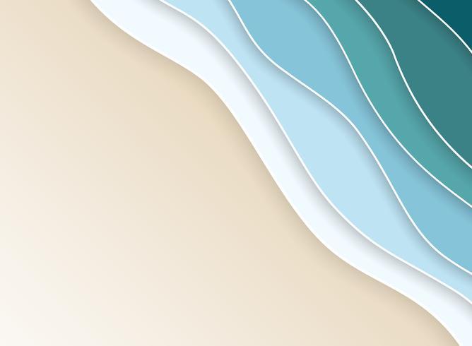 Capas onduladas del mar abstracto de la costa de la naturaleza de fondo del color de agua azul. vector