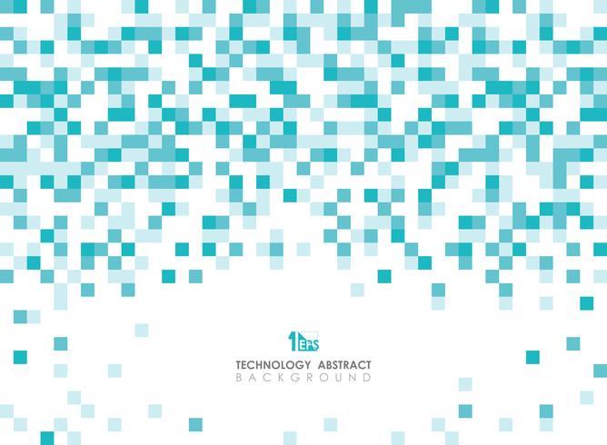 Abstract groenachtig blauw vierkant geometrisch patroon het uitspreiden op hoogste achtergrond met exemplaarruimte.