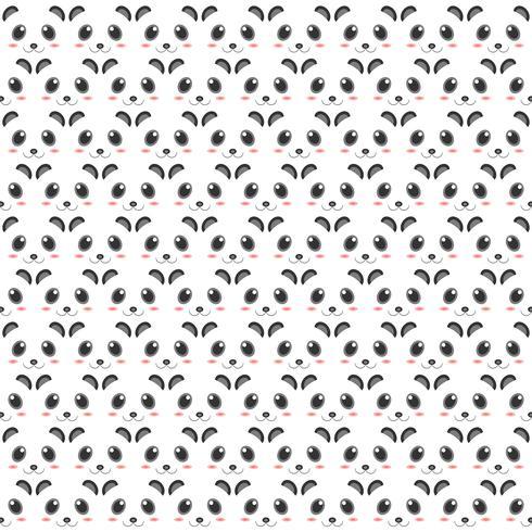 Pandamuster des Kopfdekorationsdesigns. 2D Art der Animationsgrafik.