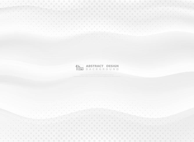 Pendiente abstracta del vector decoración ondulada blanca del diseño con el modelo de semitono. ilustración vectorial eps10