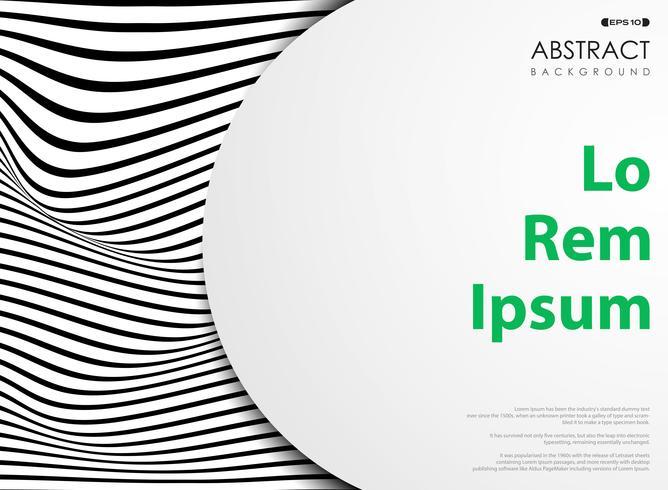Abatract líneas en blanco y negro patrón de rayas onduladas con espacio en blanco. vector