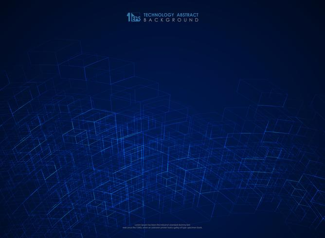 Abstracte blauwe geometrische het netwerk futuristische achtergrond van de lijnstructuur. illustratie vector eps10