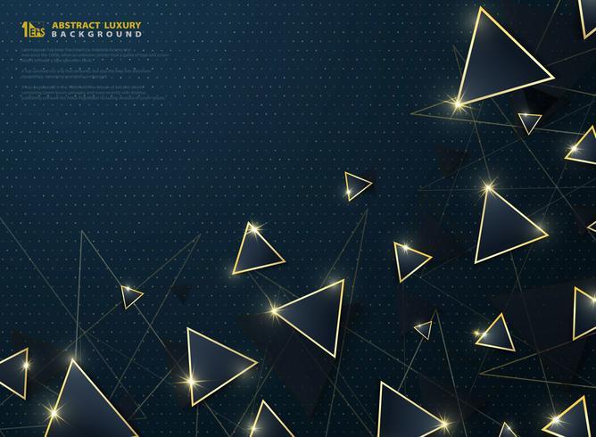 El triángulo azul de lujo moderno abstracto con la decoración del marco del oro brilla el fondo. vector eps10