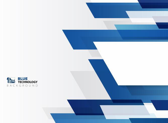 Modello astratto della linea della banda blu di pendenza di tecnologia con fondo bianco.