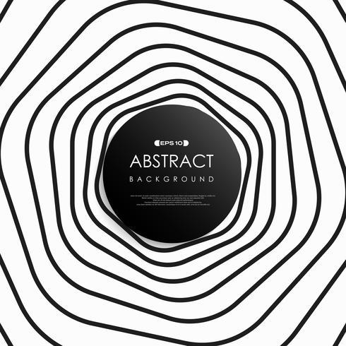 Linea arte astratta striscia bianco e nero del modello cerchio. vettore
