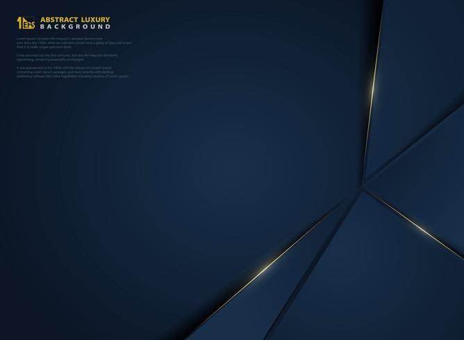 Abstrakte vektorsteigung dunkelblau mit goldener heller Linie Schablone. Abbildung Vektor eps10