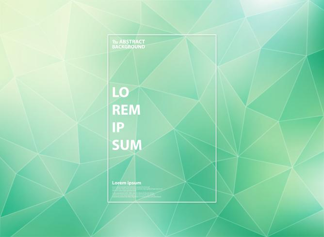 Abstract modern gradient green mint of low polygon triangle patterns with white outline style.