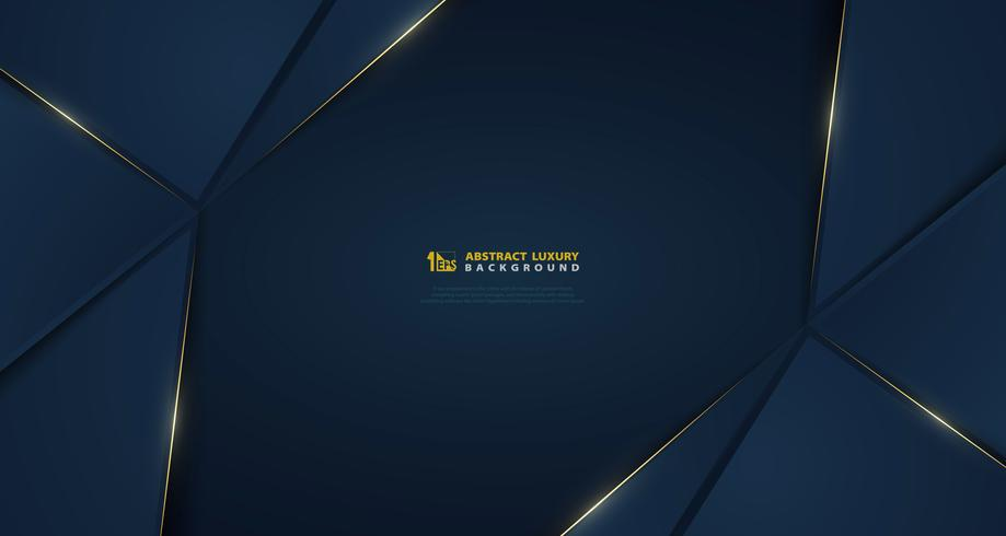 Abstrakte breite Vektorsteigung dunkelblau mit goldener heller Linie Schablone. Abbildung Vektor eps10